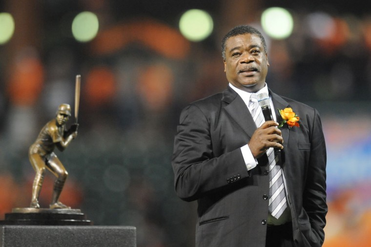 Former Baltimore Orioles player Eddie Murray address the audience during the field unveiling of his bronze sculpture before a baseball game against the Kansas City Royals on August 11, 2012 at Orioles Park at Camden Yards in Baltimore, Maryland. (Mitchell Layton/Getty Images)
