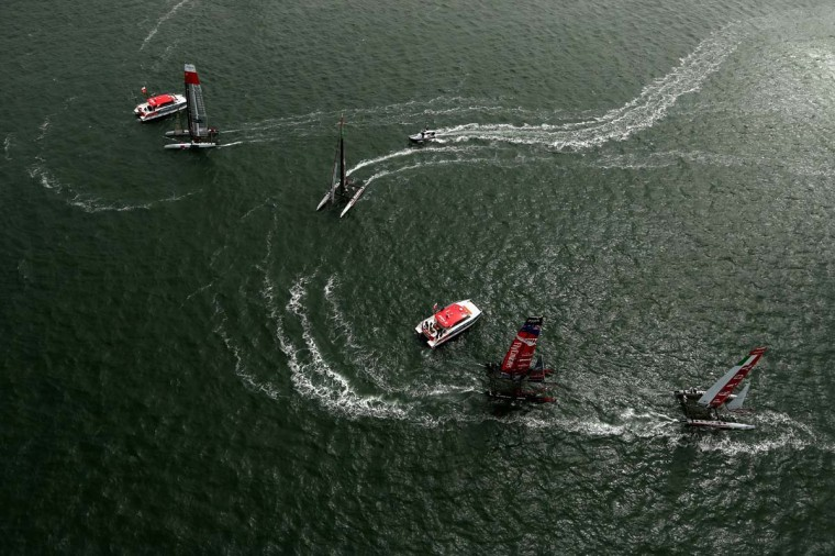 An aerial view during a fleet race in the America's Cup World Series on August 23, 2012 in San Francisco, California. (Ezra Shaw/Getty Images)