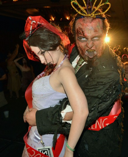 A zombie prom queen and king attend the 26th annual Dragon*Con Festival in Atlanta, Georgia. (Rick Diamond/Getty Images for AMC Networks)