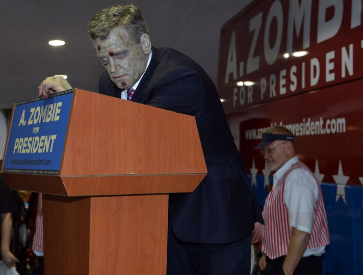 Presidential candidate A. Zombie holds a campaign rally during Dragon*Con 2012 in Atlanta, Georgia. (Rick Diamond/Getty Images for AMC Networks)