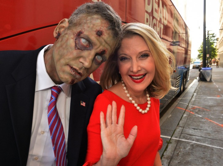 Presidential candidate A. Zombie and his human wife Patty Morgan-Zombie enter a hotel before a campaign rally held during Dragon*Con 2012 in Atlanta, Georgia. (Rick Diamond/Getty Images for AMC Networks)