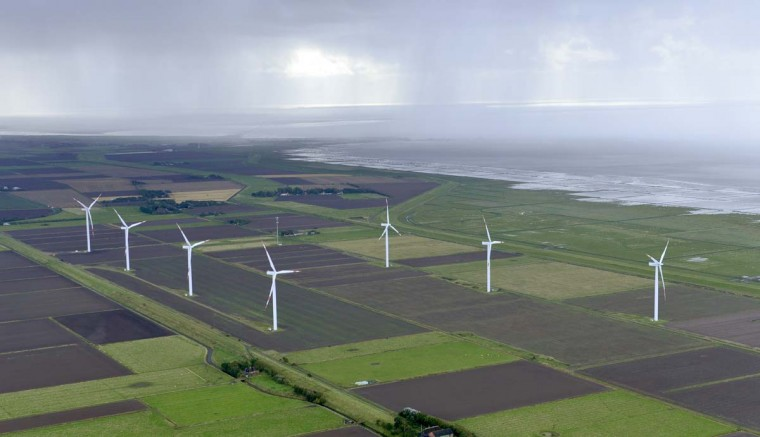 Aerial view of a wind energy park near the HUSUM 2012 Wind Energy Trade Fair on September 19, 2012 in Husum, Germany. Germany is investing heavily in onshore and offshore windparks as the country moves to increase its portion of energy derived from renewable sources. (Patrick Lux/Getty Images)