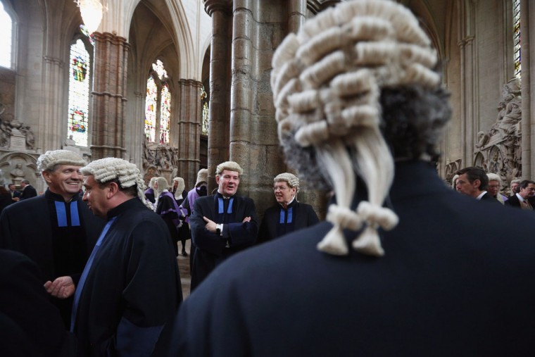 Judges congregate in Westminster Abbey before their Annual Service of Thanksgiving on October 1, 2012 in London, England. The start of the legal year is marked with a traditional religious service; judges arrive from the Royal Courts of Justice and afterwards process to The Houses of Parliament where the Lord Chancellor hosts a reception. (Oli Scarff/Getty Images)