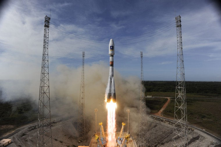 October 12, 2012: In this handout image supplied by the European Space Agency (ESA), the Soyuz rocket lifts off for the third time from Europe's Spaceport in French Guiana on its mission to place the second pair of Galileo In-Orbit Validation satellites into orbit from Kourou, French Guiana. Galileo will become fully operational by 2020 and intends to give Europe full independence from the US, Russian and Chinese controlled GPS systems. (S. Corvaja /ESA via Getty Images)