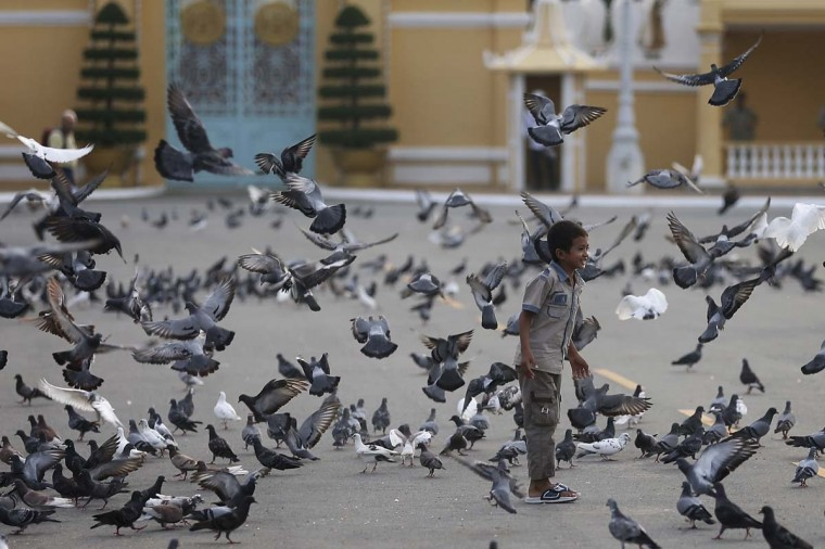 A boy plays amongst pigeons in front of the Royal Palace in Phnom Penh, Cambodia. Cambodians continue to flock to the site to offer tributes, after the body was returned to the Royal Palace yesterday where it will lie in state for the next three months before a traditional cremation ceremony is held. The former king died of a heart attack in Beijing on Monday at the age of 89. (Chris McGrath/Getty Images)