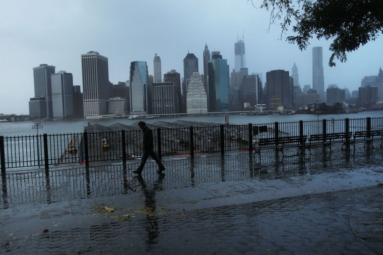 October 30, 2012: A darkened Manhattan is viewed after much of the city lost electricity due to the affects of Hurricane Sandy in New York. (Spencer Platt/Getty Images)