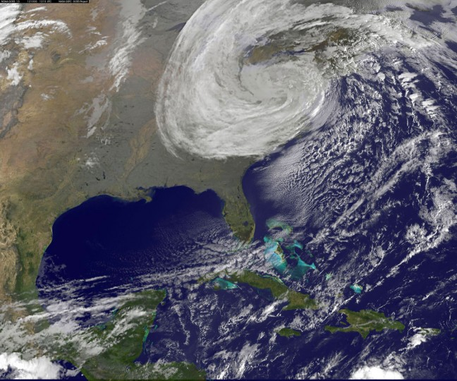 October 30, 2012: In this handout GOES satellite image provided by NASA, Hurricane Sandy, pictured at 1255 UTC, moves inland across the mid-Atlantic region in the Atlantic Ocean. (NASA via Getty Images)