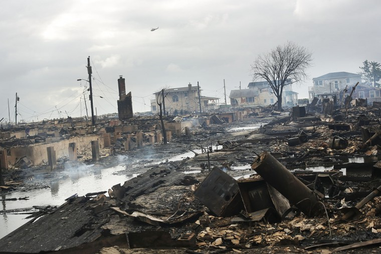 October 30, 2012: Over 50 homes destroyed in a fire during Hurricane Sandy are viewed in the Breezy Point neighborhood of the Queens borough of New York City. (Spencer Platt/Getty Images)