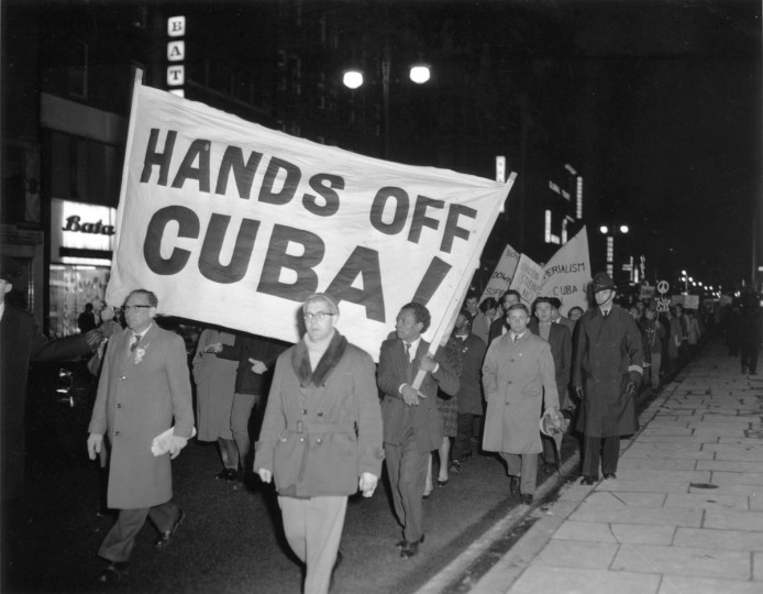 Campaign for Nuclear Disarmament members march on Oxford Street in London, protesting against the United States' actions in the Cuban missile crisis. (Ron Case/Getty Images)