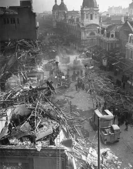 March 9, 1945: The scene at Farringdon St Market in London the day after a V-2 rocket landed killing 380 people. (Topical Press Agency/Getty Images)