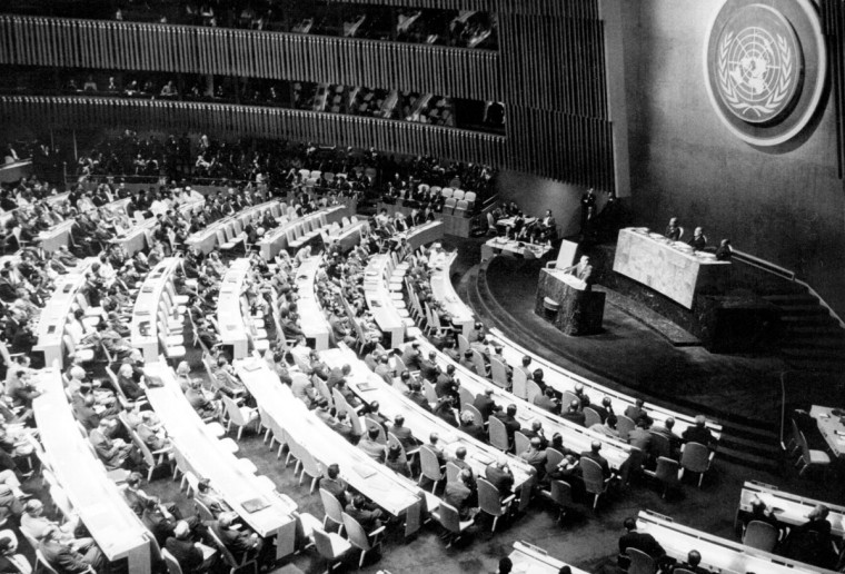 Cuban president Osvaldo Dorticos Torrado addresses the United Nations General Assembly to denounce U.S. aggression against his country at the time of the Cuban missile crisis. (Hulton Archive/Getty Images)