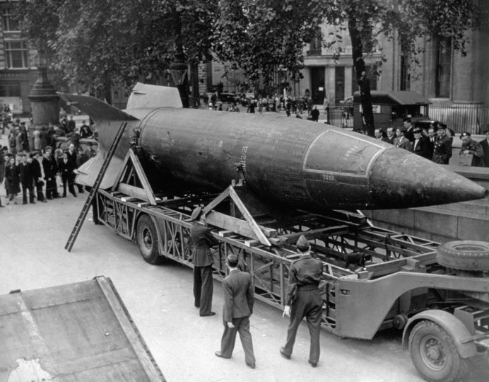 On October 03, 2012, it will be 70 years since the first V-2 rocket was launched. The V-2 rocket was a ballistic missile that was developed at the beginning of the WWII in Germany and was the world's first long-range combat missile. Above, a V-2 rocket was on display in Trafalgar Square, London in 1945. (Hulton Archive/Getty Images)