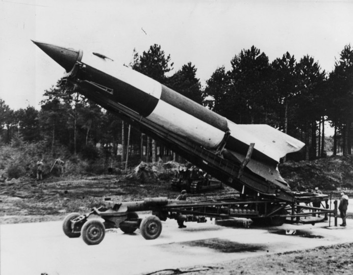1945: A German V-2 rocket ready for launching at Cuxhaven in Luneburg district, Lower Saxony. (Fox Photos/Getty Images)