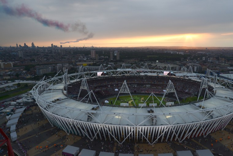 Aerial view shows the Olympic Stadium before the opening ceremony of the London 2012 Olympic Games on July 27, 2012. (Alberto Pizzoli/AFP/Getty Images)