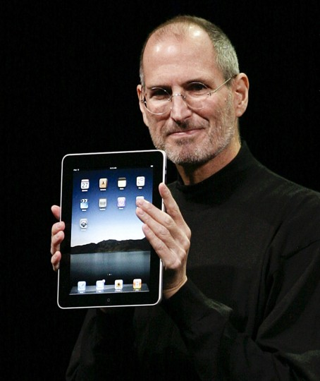 January 27, 2010: Apple Inc. CEO Steve Jobs announces the new iPad as he speaks during an Apple Special Event at Yerba Buena Center for the Arts in San Francisco, California. (Ryan Anson/AFP/Getty Images)