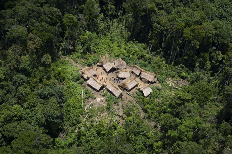 An aerial view photo shows the Irotatheri community in southern Venezuela on September 7, 2012. The Venezuelan government on Friday agreed to lead a delegation of national and international media to Irotatheri after a slaughter of 80 Yanomami natives was reported, presumably caused by illegal mining. (Leo Ramirez/AFP/Getty Images)