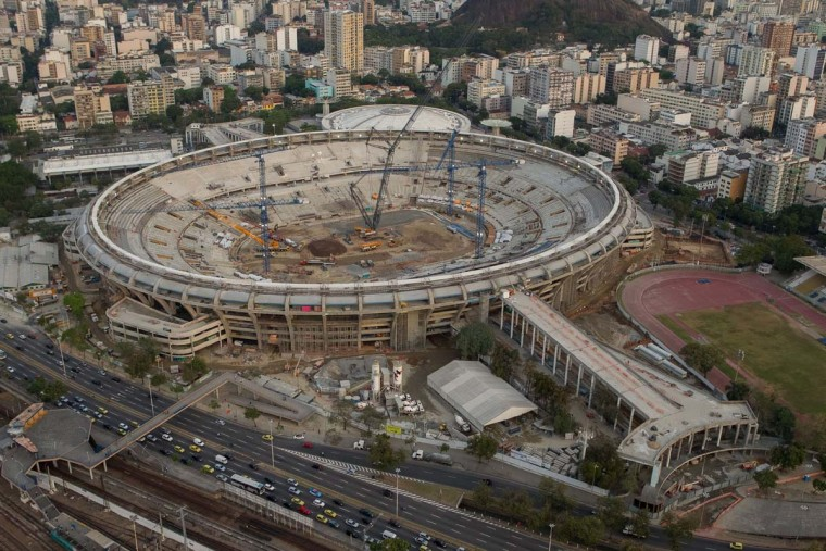 "Aerial view of the he Mario Filho ""Maracana"" stadium, on September 6, 2012, in Rio de Janeiro, Brazil, undergoing refurbishment works ahead of the FIFA World Cup Brazil 2014 and the 2016 Olympic Games. (Ari Versiani/AFP/Getty Images)"