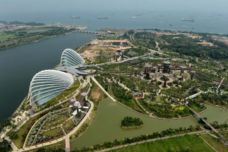 An aerial shot shows Gardens by the Bay in Singapore on September 16, 2012.The 101-hectare Gardens by the Bay situated at the heart of Singapore's new downtown at Marina Bay has attracted 220,000 visitors since it was officially opened on June 28. (Roslan Rahman/AFP/Getty Images)
