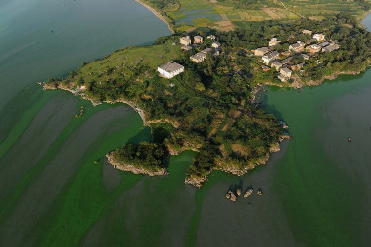 This picture taken on September 15, 2012 shows an aerial view of the wetlands in Chaohu, central China's Anhui province. A report earlier this year by the Netherlands Environmental Assessment Agency and the European Commission's Joint Research Centre showed that China's carbon dioxide (CO2) emissions had soared in 2011. (AFP/Getty Images)