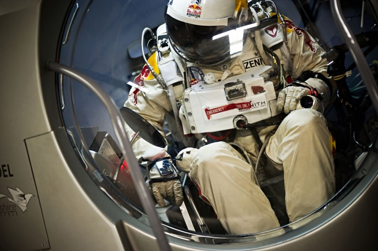 February 23 2012: Pilot Felix Baumgartner of Austria, is seen during the first manned test flight for Red Bull Stratos in Roswell, New Mexico, USA in this photo provided by Red Bull. The final countdown for Baumgartner's history making jump from the edge of space began on September 24, 2012 after the Red Bull Stratos Technical Project Director Art Thompson declared the repaired space capsule is fit and all systems are go. (Joerg Mitter/Red Bull/AFP/Getty Images)