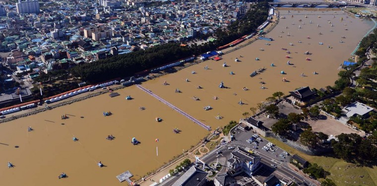 An aerial view shows lanterns floating on the Nam River at Jinju on October 2, 2012, during the annual lantern festival. The Jinju Namgang floating lanterns festival runs until 14 October. (Yon Hap/AFP/Getty Images)