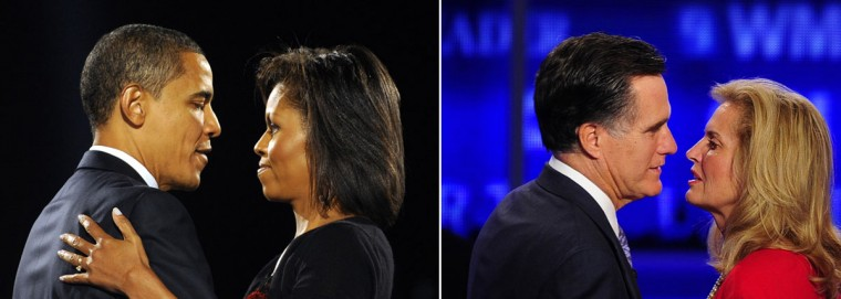 This combination of file pictures shows (L) U.S. president-elect Barack Obama and his wife Michelle embracing on stage during Obama's election night victory rally at Grant Park on November 4, 2008 in Chicago, Illinois, and (R) former Massachusetts Governor Mitt Romney kissing his wife Ann after the first 2012 Republican presidential candidates' debate in Manchester, New Hampshire June 13, 2011. (Emmanuel Dunand/AFP/Getty Images)