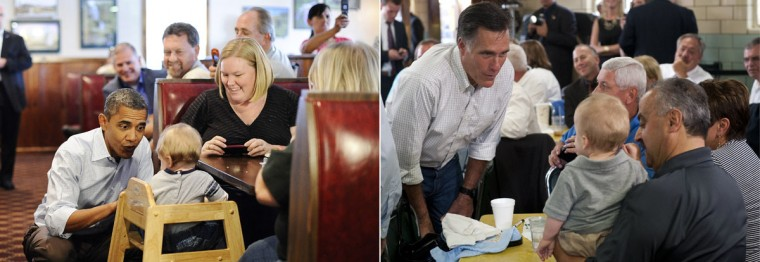 This combination of file pictures shows U.S. President Barack Obama (L) chatting with a child as he visits the Countryside barbecue restaurant lunch in Marion, North Carolina, on October 17, 2011, and U.S. Republican presidential candidate Mitt Romney (R) talking with supporters during a campaign stop at Tom's Ice Cream Bowl in Zanesville, Ohio, on August 14, 2012. (Jewel Samad & Saul Loeb/AFP/Getty Images)
