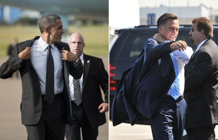 This combination of file pictures shows President Barack Obama (L) removing his jacket after arriving at Tampa International Airport on September 20, 2012 in Tampa, Florida, and Republican presidential candidate Mitt Romney (R) putting on his jacket before departing Newark airport in New Jersey for Ohio where he will address a campaign rally on September 14, 2012. (Brendan Smialowki & Nicholas Kamm/AFP/Getty Images)