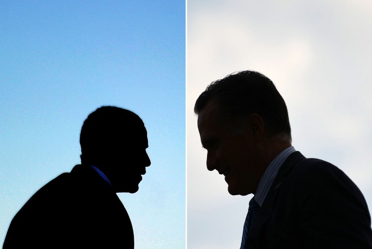 This combination of file pictures shows President Barack Obama (L) boarding Air Force One at Andrews Air Force Base in Maryland on January 19, 2012 to leave to visit Walt Disney World Resort in Florida, Republican presidential candidate Mitt Romney (R) disembarking from his campaign plane at St. Paul International Airport in Minneapolis, Minnesota, on August 23, 2012. (Jewel Samad/AFP/Getty Images)