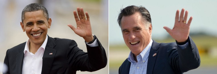 This combination of file pictures shows U.S. President Barack Obama (L) arriving at the Convention Centre in Cartagena, Colombia to attend the opening of the VI Americas Summit on April 14, 2012, and U.S. Republican presidential candidate Mitt Romney (R) waving as he arrives in Portsmouth, New Hampshire, on August 25, 2012. (Alredo Estrella & Jewel Samad/AFP/Getty Images)