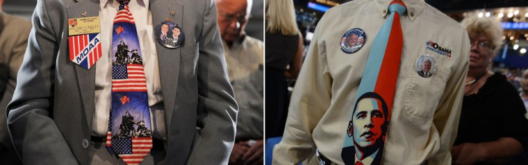 "This combination of file pictures shows (L) veterans at the American Legion Post 176 praying before U.S. Republican presidential candidate Mitt Romney speaks at ""Veterans for Romney"" campaign event in Springfield, Virginia, on September 27, 2012, and (R) a man wearing an Obama tie at the Time Warner Cable Arena in Charlotte, North Carolina, on September 5, 2012 on the second day of the Democratic National Convention (DNC). (Jewel Samad & Robyn Beck/AFP/Getty Images)T: -"