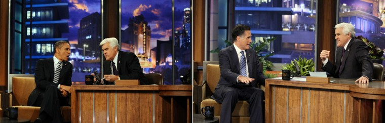 "This combination of file pictures shows (L) President Barack Obama during an interview on the """"Tonight Show with Jay Leno"" at the NBC Studios in Burbank, California, on October 25, 2011, and (R) Republican presidential candidate Mitt Romney speaking with Jay Leno during The Tonight Show With Jay Leno on March 27, 2012 in Burbank, California. (Jewel Samad/AFP/GettyImages & Paul Drinkwater /NBC)"