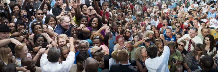 This combination of file pictures shows President Barack Obama (L) greeting supporters after speaking at a campaign event at Eden Park September 17, 2012 in Cincinnati, Ohio, and Republican presidential candidate Mitt Romney (R) greeting supporters during a campaign event at the Ross County Court House in Chillicothe, Ohio, August 14, 2012. (Brendan Smialowski & Saul Loeb/AFP/Getty Images)