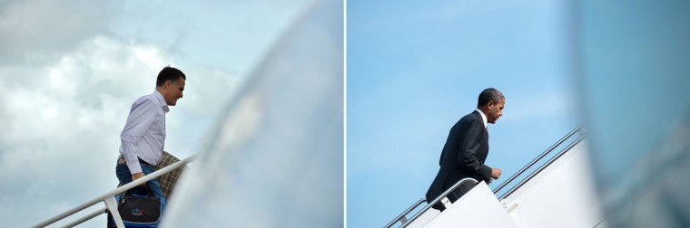 This combination of file pictures shows Republican presidential candidate Mitt Romney (L) boarding his campaign plane at Tampa International Airport in Tampa, Florida, on August 29, 2012 en route to Indianapolis, Indiana, and US President Barack Obama (R) walking to Air Force One at Andrews Air Force Base September 17, 2012 in Maryland. (Jewel Samad/Brendan Smialowski/AFP/Getty Images)