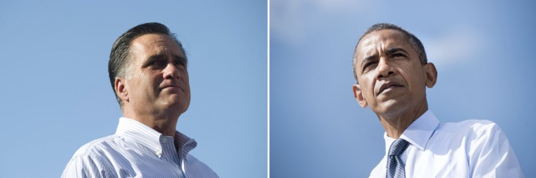 This combination of file pictures shows Republican presidential candidate Mitt Romney (L) speaking during a campaign rally at Flagler College in St. Augustine, Florida, August 13, 2012, and President Barack Obama (R) pausing while speaking during a campaign event in Lions Park a September 13, 2012 in Golden, Colorado. (Saul Loeb & Brendan Smialowski/AFP/Getty Images)