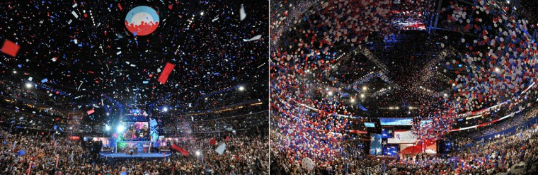 This combination of file pictures shows (L) supporters cheering President Barack Obama after he accepted the Democratic National Convention's nomination to run for a second term as president at the Time Warner Cable Arena in Charlotte, North Carolina, on September 6, 2012 on the final day of the DNC, and (R) Republican presidential candidate Mitt Romney and vice presidential nominee Paul Ryan welcoming their families onto the stage following Romney's acceptance speech at the Tampa Bay Times Forum in Tampa, Florida, on August 30, 2012 on the final day of the Republican National Convention (RNC). (Stan Honda/AFP/Getty Images)