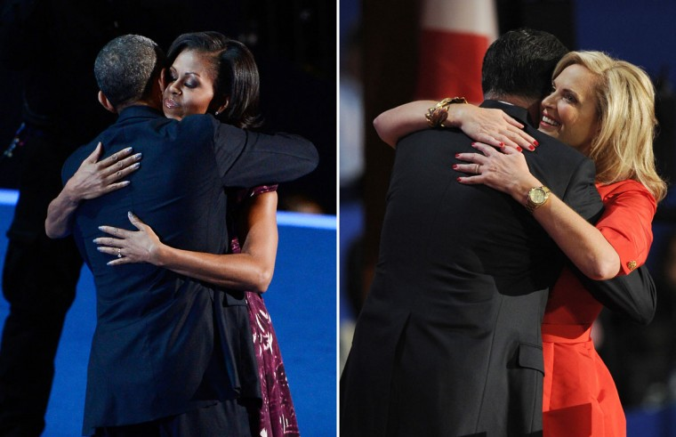 This combination of file pictures shows (L) President Barack Obama hugging First lady Michelle Obama during the final day of the Democratic National Convention at Time Warner Cable Arena on September 6, 2012 in Charlotte, North Carolina, and (R) Republican presidential candidate Mitt Romney and wife Ann embracing at the Tampa Bay Times Forum in Tampa, Florida, on August 28, 2012 during the Republican National Convention. (Kevork Djansezian/Getty Images & Robyn Beck/AFP/Getty Images)