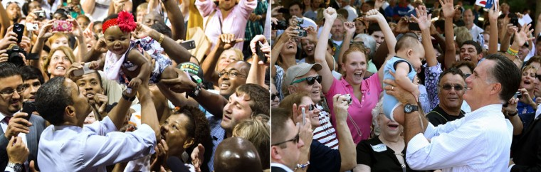 This combination of file pictures shows President Barack Obama (L) pulling a baby out of the crowd as he works the rope line after delivering remarks during a campaign event at Rollins College in Orlando, FL, August 2, 2012, and US Republican presidential candidate Mitt Romney (R) lifting up a baby during a campaign rally at Flagler College on August 13, 2012 in St Augustine, Florida. (Jim Watson/AFP & Justin Sullivan/Getty Images)