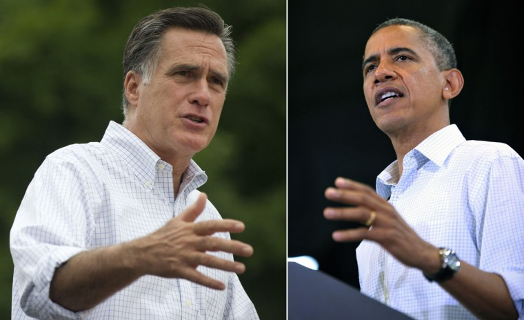 This combination of file pictures shows Republican presidential candidate Mitt Romney (L) speaking during a campaign event with coal miners at the American Energy Corporation in Beallsville, Ohio, August 14, 2012, and President Barack Obama (R) speaking during a Labor Day campaign event September 3, 2012 at Scott High School in Toledo, Ohio. (Saul Loeb & Mandel Ngna/AFP/Getty Images)