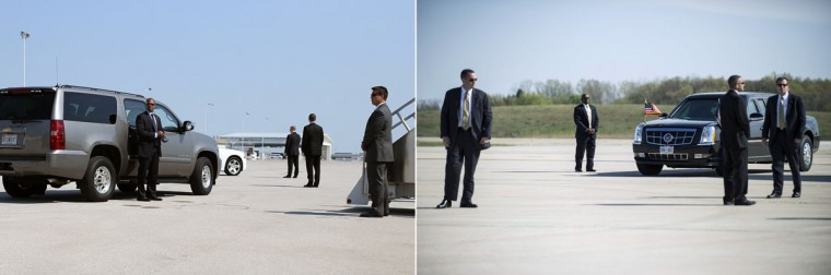 This combination of file pictures shows (L) U.S. Secret Service agents standing guard in front of a vehicle carrying US Republican presidential candidate Mitt Romney before boarding his campaign plane on August 29, 2012 in Indianapolis, Indiana, and (R) members of the Secret Service awaiting the arrival of President Barack Obama at Detroit Metro Wayne County Airport April 18, 2012 in Detroit, Michigan. (Justin Sullivan/Getty Images & Brendan Smialowski/AFP)