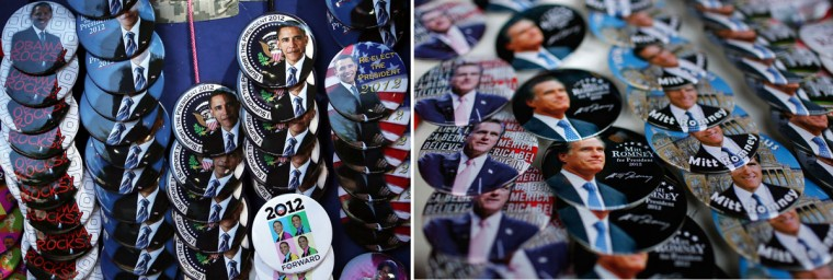 This combination of file pictures shows (L) campaign buttons outside an Obama campaign event on August 29, 2012 in Charlottesville, Virginia, and (R) campaign buttons with images of Republican presidential candidate Mitt Romney sold before the start of a campaign event December 28, 2011 in Clinton, Iowa. (Alex Wong & Chip Somodevilla/AFP/Getty Images)