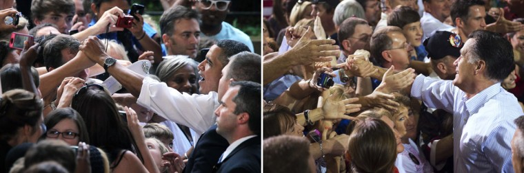 This combination of file pictures shows U.S. President Barack Obama (L) greeting supporters during a campaign stop at the Charlottesville Telos Wireless Pavilion August 29, 2012 in Charlottesville, Virginia, and Republican presidential candidate Mitt Romney (R) greeting supporters during a campaign rally at the NASCAR Technical Institute in Mooresville, North Carolina, August 12, 2012. (Alex Wong/Getty Images & Saul Loeb/AFP)