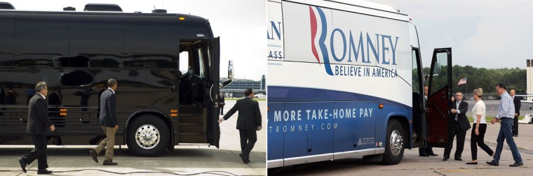This combination of file pictures shows President Barack Obama (L) walking to his bus as he arrives in Minneapolis-St. Paul International Airport, Minnesota, August 15, 2011, and Republican presidential candidate Mitt Romney (R) and his wife Ann boarding a bus after arriving by campaign plane on August 10, 2012 in Norfolk, Virginia. (Jim Watson/AFP & Justin Sullivan/Getty Images)