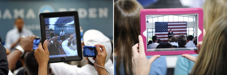 This combination of file pictures shows (L) a supporter using an iPad to photograph President Barack Obama as he speaks in an overflow room during a campaign event July 13, 2012 at Phoebus High School in Hampton, Virginia, and (R) a supporter recording Republican presidential candidate Mitt Romney on an iPad as he speaks during a campaign stop on April 18, 2012 in Charlotte, North Carolina. (Mandel Ngan/AFP & Rainier Ehrhardt/Getty Images)