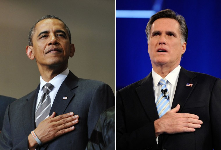 This combination of file pictures shows President Barack Obama (L) listening to the national anthem during the Joplin High School Commencement Ceremony May 21, 2012 at Missouri Southern State University in Joplin, Missouri, and Republican presidential candidate Mitt Romney (R) singing the national anthem at a debate sponsored by CNN and the Republican Party of Arizona at the Mesa Arts Center February 22, 2012 in Mesa, Arizona. (Mandel Ngan/AFP & Ethan Miller/Getty Images)