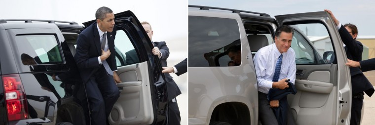 This combination of file pictures shows President Barack Obama (L) arriving at Andrews Air Force Base to board Air Force One on March 16, 2012 in Maryland, and Republican presidential candidate Mitt Romney (R) arriving to board his campaign plane at Lea County Regional Airport in Hobbs, New Mexico, on August 23, 2012. (Brendan Smialowski & Jewel Samad/AFP/Getty Images)