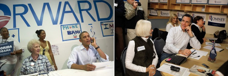 This combination of file pictures shows President Barack Obama (L) making a phone call to a supporter during a visit to the Obama for American campaign field office in Port St. Lucie, Florida, on September 9, 2012, and Republican presidential candidate Mitt Romney (R) making phone calls asking for votes as he visits a Romney for President Greenville Headquarters on January 21, 2012 in Greenville, South Carolina. (Saul Loeb/AFP & Joe Raedle/Getty Images)