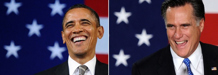 This combination of file pictures shows President Barack Obama (L) speaking during a campaign event at the Apollo Theatre in New York on January 19, 2012, and Republican presidential candidate Mitt Romney (R) smiling as he arrives to speaks at his caucus night rally following republican caucuses in Des Moines, Iowa, on January 3, 2012. (Jewel Samad/AFP/Getty Images)
