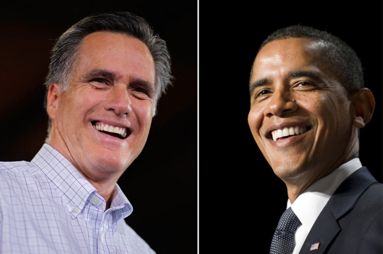 This combination of file pictures shows Republican presidential candidate Mitt Romney (L) addressing a large audience at Centro Incorporated, December 28, 2011 in North Liberty, Iowa, and President Barack Obama (R) speaking during the National Prayer Breakfast at the Washington Hilton on February 3, 2011 in Washington, DC. (Chip Somodevilla & Jewel Samad/AFP/Getty Images)