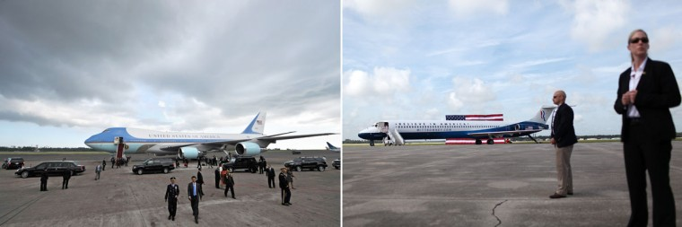 This combination of file pictures shows (L) officials dispersing after U.S. President Barack Obama boards Air Force One prior to departure from Denpasar International Airport on Indonesia's resort island of Bali on November 19, 2011, and (R) U.S. Secret Service agents standing guard near the new campaign plane of Republican presidential candidate Mitt Romney during an RNC Farewell Victory rally on August 31, 2012 in Lakeland, Florida. (Bay Ismoyo/AFP & Justin Sullivan/Getty Images)